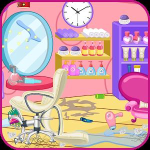 Clean up hair salon icon
