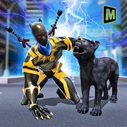 Superhero Panther Flying City Survival icon