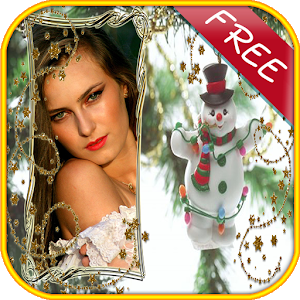 Christmas photo frames montage icon