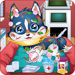 Baby puppy doctor game icon