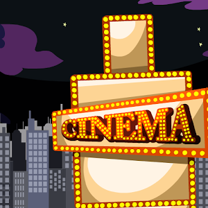 Stickman. Bloody cinema ticket icon