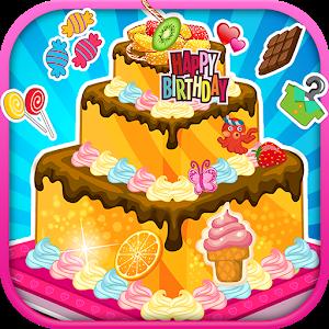 Birthday cake decoration icon