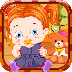 Baby with teddy bear icon