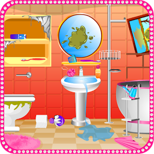Bathroom cleaning girls games icon