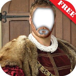 Medival men suit photo montage icon