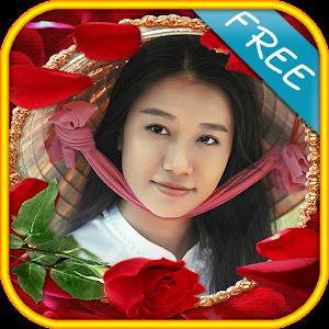 Rose flower frame photomontage icon