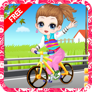 The little girl learn bicycle icon