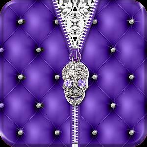 Punk Skull Theme Purple Zipper icon