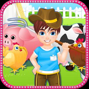 Farm little boy icon