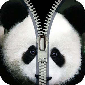 panda zipper lock screen icon