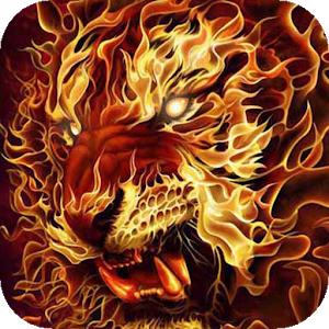 Lion out of flames LWP icon