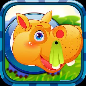 Cute hippo care icon