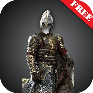 Knight armor suit photomontage icon
